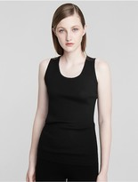 Calvin Klein Collection Fine Cashmere Rib Scoop Neck Tank