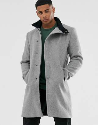 ONLY & SONS stand up collar concealed closer overcoat in grey