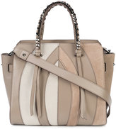Elena Ghisellini panel design satchel bag - women - Leather/Suede/Calf Hair - One Size
