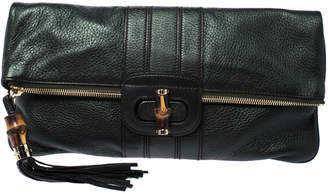 Gucci Metallic Green Leather Bamboo Detail Tassel Lucy Fold Over Clutch