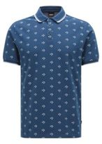 HUGO BOSS Easy-care slim-fit polo shirt in cotton with all-over pattern: 'Beach Polo Shirt'