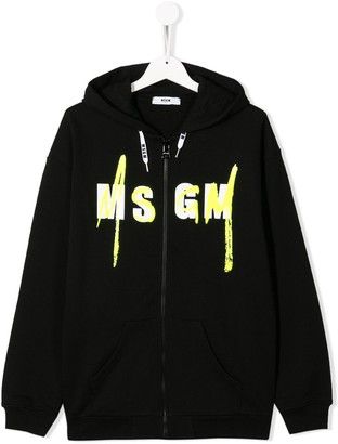 Msgm Kids TEEN logo-print zip-through hooded sweatshirt