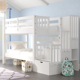 Harriet Bee Tena Twin Over Twin Bunk Bed with Trundle Bed Frame Color: White
