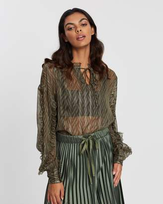 Maison Scotch Sheer Printed Top with Lurex & Ruffles