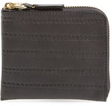 Comme des Garcons Men's 'Embossed Stitch' Leather Half Zip French Wallet - Black
