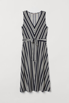 H&M Dress with Tie Belt - Blue