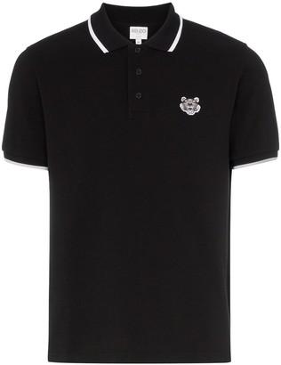 Kenzo Tiger-Embroidered Cotton Polo Shirt