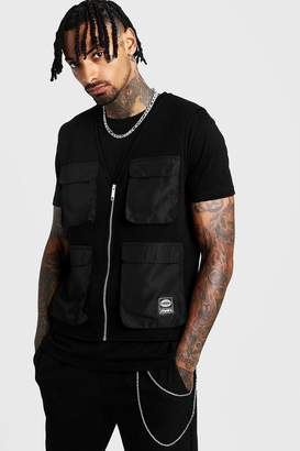 boohoo MAN Utility Vest T-Shirt 2 In 1