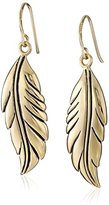 Barse Bronze Feather Drop Earrings