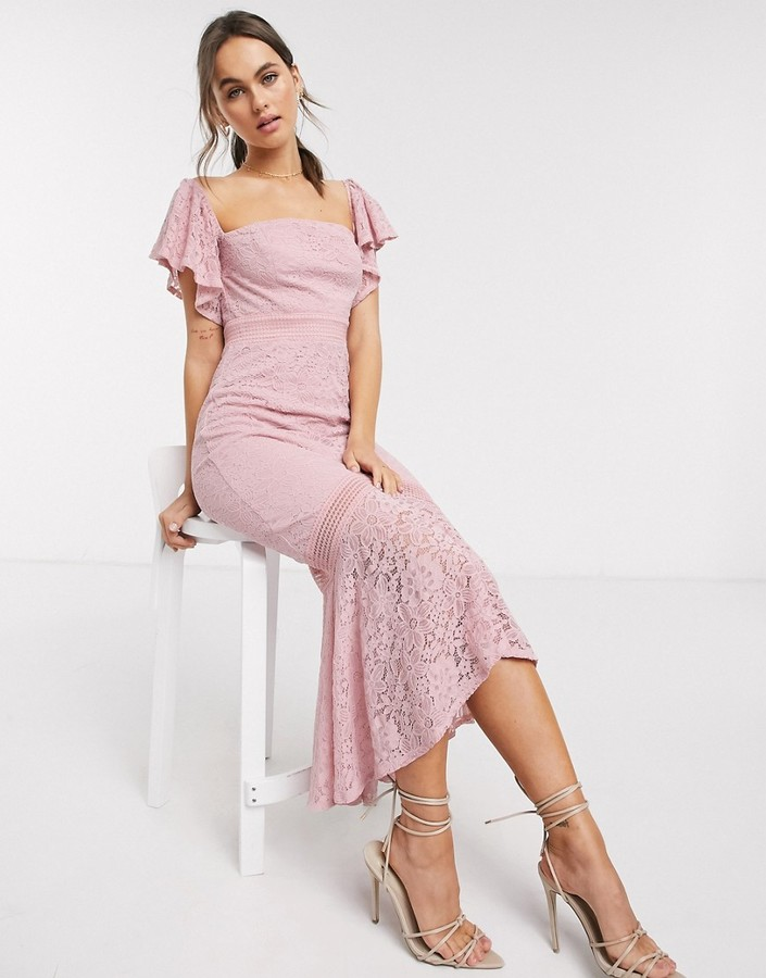 Little Mistress lace fishtail maxi dress in blush