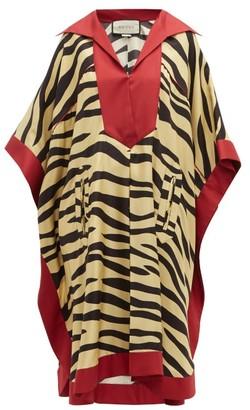 Gucci Zebra-print Silk Kaftan Dress - Womens - Yellow Multi