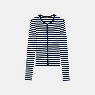 Theory Ribbed Cardigan in Striped Stretch Cotton