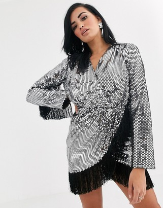 Opulence England premium party long sleeve sequin fringe mini dress in silver