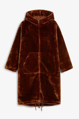 Monki Long faux fur coat