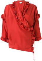 Isa Arfen ruffle-trim wrap blouse