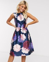 Chi Chi London midi dress in navy based rose print