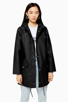 Topshop TALL Black Longline Rain Mac