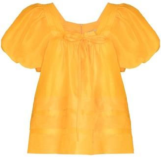 Lee Mathews Canary puff-sleeve blouse