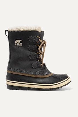 Sorel 1964 Pac 2 Fleece-trimmed Nubuck And Rubber Snow Boots - Charcoal
