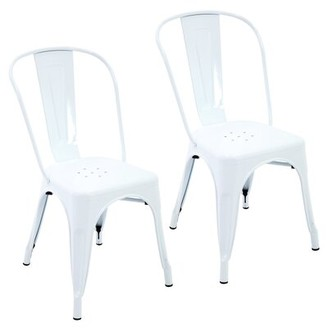 Ivy Bronx Feeney Metal Queen Anne Back Stacking Dining Chair Color: White
