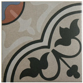 "EliteTile Cementa 7"" x 7"" Ceramic Glazed Decorative Murals Tile in And Centro"