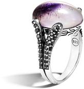 John Hardy Women's Classic Chain Celestial Orb Ring in Sterling Silver, 17x12MM Rainbow Moonstone