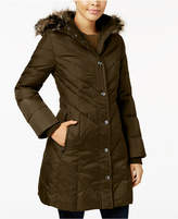 London Fog Faux-Fur-Trim Down Puffer Coat