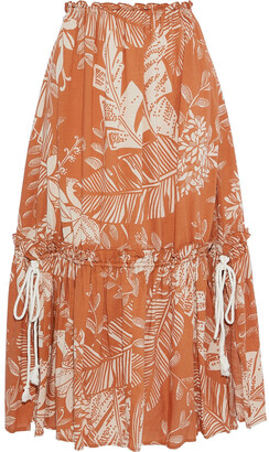 See by Chloe Gathered Printed Cotton-blend Gauze Midi Skirt