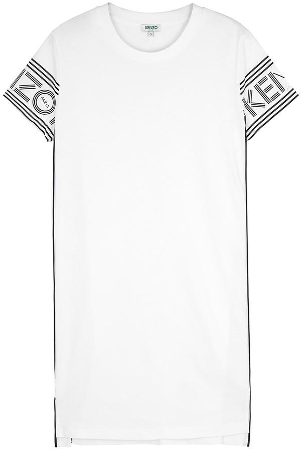 Kenzo White Logo-print Cotton T-shirt Dress