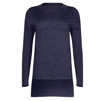 Ny Charisma Navy Ribbed Neck Trim High-Low Pullover