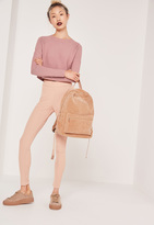 Missguided Contrast Knit Long Sleeve Sweater Pink