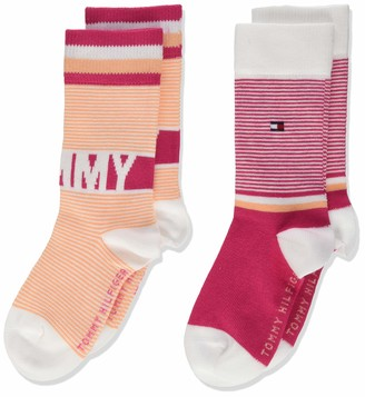 Tommy Hilfiger Girl's Th Kids Sock 2p Fine Stripe Calf