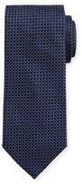 Eton Woven Dotted Circles Neat Silk Tie, Blue