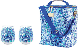 Lilly Pulitzer Acrylic Wine Glass & Wine Carrier Set