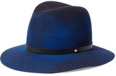Rag & Bone Leather-trimmed Wool-felt Fedora - Navy