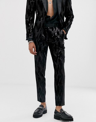 ASOS DESIGN skinny suit trousers in black velvet and sequins