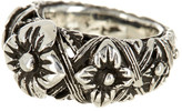 Stephen Dweck Sterling Silver Flower Engraved Ring
