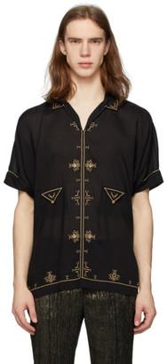 Saint Laurent Black Satin Short Sleeve Shirt