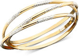 14k Gold over Sterling Silver Three Interlocking Diamond-Cut Bangle Bracelets