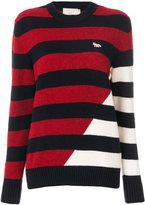 MAISON KITSUNÉ graphic stripe crew neck sweater - women - Lambs Wool - M