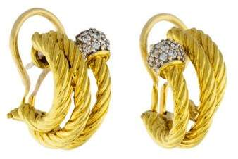 David Yurman 18K Diamond Cable Hoop Earrings