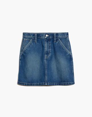 Madewell Rigid Denim Carpenter A-Line Mini Skirt in Ledger Wash
