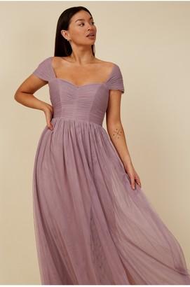 Little Mistress Bridesmaid Mariah Mauve Sweetheart Maxi Dress