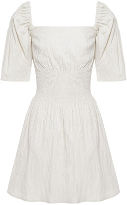ANNA QUAN Terri Shirred Cotton-blend Mini Dress