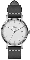 Vestal 'Sophisticate 36' Swiss Quartz Stainless Steel and Leather Dress Watch, Color:Black (Model: SP36L03)
