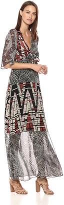 BCBGMAXAZRIA Azria Women's Patchwork Maxi Wrap Dress
