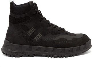 Versace Suede And Mesh Hiking Boots - Black