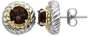 Lord & Taylor Smoky Quartz Earrings in Sterling Silver with 14K Yellow Gold