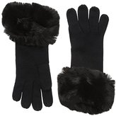 Badgley Mischka Women's Jersey Knit Glove with Faux Chinchilla Cuff
