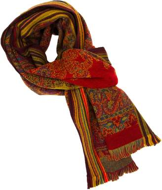 40 Colori Red & Orange Large Paisley Woven Wool Scarf